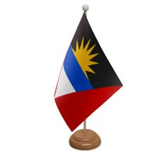ANTIGUA & BARBUDA  - TABLE FLAG WITH WOODEN BASE